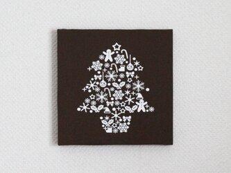 クリスマスツリーのファブリックパネル M-501◆チョコ/白の画像