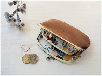 ■リトアニアリネンの親子がま口財布【ミニマムサイズ】 / 栗 ■ lucas (lnn-mr)の画像
