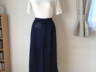 着物リメイク ラップスカート 紺の画像