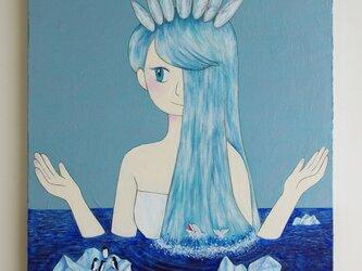油絵 原画「北極の女王」F8サイズ  シロクマ 氷山 海の画像