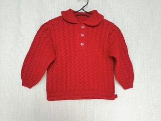 昭和レトロ 機会編みニット 子供用セーター えりつき あかの画像