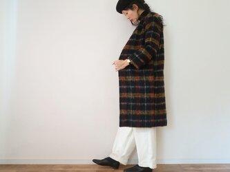 Check shaggy no collar coatの画像