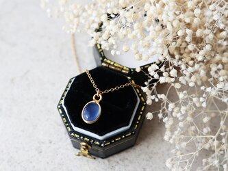 【14kgf】宝石質ブルーカルセドニーの一粒ネックレスの画像
