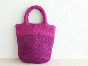 羊毛フェルトトートバッグ コンパクトハンドバッグ 内ポケット付き (ピンク/ライトパープル)の画像