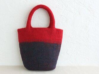 羊毛フェルトトートバッグ コンパクトハンドバッグ 内ポケット付き (レッド/ネイビー)の画像