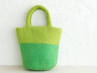羊毛フェルトトートバッグ コンパクトハンドバッグ 内ポケット付き (イエローグリーン/グリーン)の画像