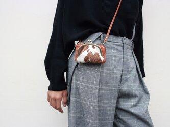 お財布ショルダーミニ ポーチ がま口 ハラコ 姫路産シュリンクレザー キャメルaw-25nchの画像