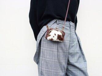 お財布ショルダーミニ ポーチ がま口 ハラコ 姫路産シュリンクレザー ブラウンaw-25nchの画像