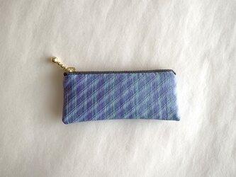 絹手染ミニポーチ(4.9cm×10.8cm 縦・渋紫淡緑)の画像