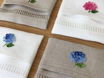 本紫陽花の刺繍|リネンポケットティッシュケースの画像