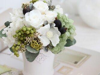 le vin blanc(ヴァン ブロン)プリザーブドフラワー ホワイト グリーン 結婚祝い・誕生日・記念日の画像