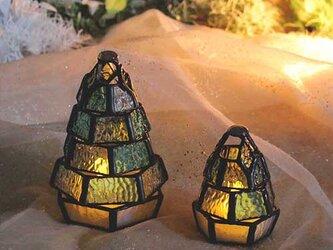 【小さなもみの木ランプ・ちびっこランプとペアセット】ステンドグラスミニランプ,LEDライト付の画像