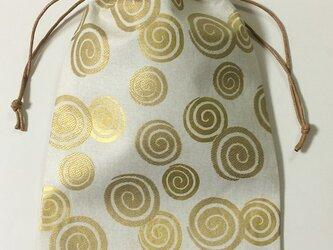 御朱印帳袋~渦巻(白地に金)の画像