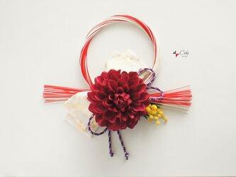 冬の新作 正月飾り(鶴×赤)【しめ縄】の画像