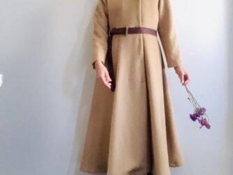 アルパカシャギー 毛並の美しいXラインのドレスコート ロング丈 ベージュの画像