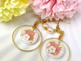 【和風】ピンクの桜のピアスの画像