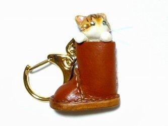 にゃんこのしっぽ○ブーツのにゃんこ○キーホルダー○猫○ノルウェージャンの画像