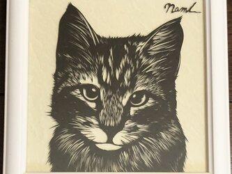 額装済み切り絵作品・猫4の画像