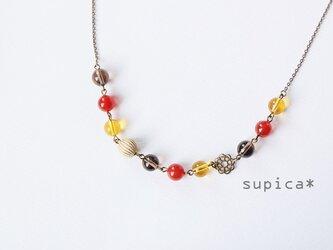 s152 AN495【長さ4通り】秋色カラーの天然石とアンティークカラーのネックレスの画像