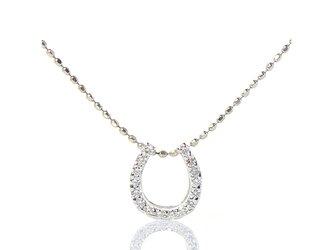 K18 ホワイトダイヤモンド ホースシュー【S】 K18ホワイトゴールド ペンダントトップ YK-BK070CIの画像