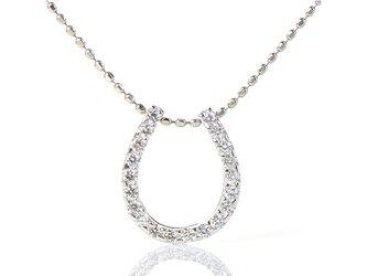 K18 ホワイトダイヤモンド ホースシュー【M】 K18ホワイトゴールド ペンダントトップ YK-BK071CIの画像