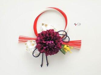 冬の新作 正月飾り(水玉×赤紫)【しめ縄】の画像