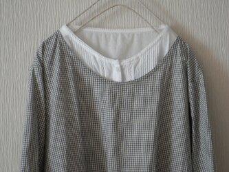 綿麻のかっぽう着 ギンガムグレーの画像