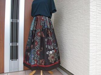 着物リメイク  * 表情豊かなエレガントスカート  裏付きの画像