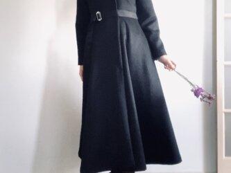 アルパカシャギー 毛並の美しいXラインのドレスコート ロング丈 黒の画像