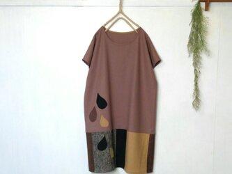 あったかく着てね 良質生地 雫ワンピース ~ ブラウンベージュ ウール ツィードの画像