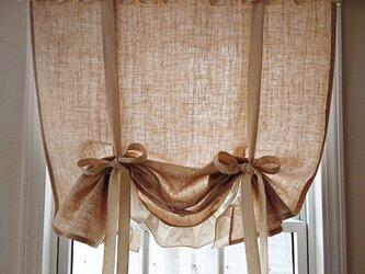 リネンのフリルリボンアップカーテンの画像