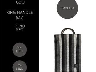 リングハンドルバッグ 黒×グレー ストライプ ●ROND-ISABELLA●の画像