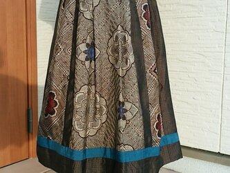 着物リメイク パッチスカート 一点品 裏付き の画像