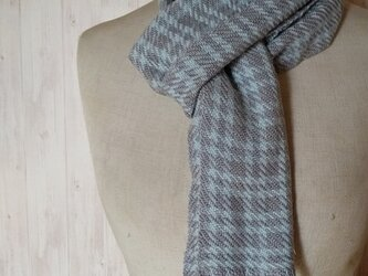 上質シルクカシミヤ 手織りチェックマフラー 水色 933の画像