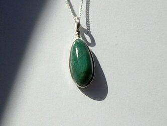 925 Stering Silver Green Jasper Pendantの画像