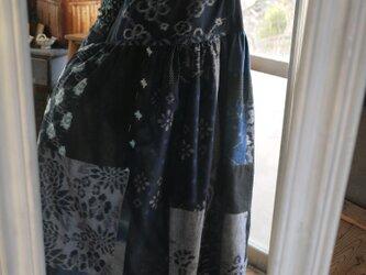 久留米絣パッチワークのギャザースカートワンピースの画像