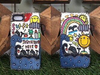 【受注生産】クジラの冒険刺繍スマホケース(iPhone6/6s,7/8,X,XS用)の画像