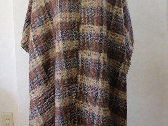 モヘアループ糸×MIX糸の大判チェックストール*尾州編みベージュ/茶の画像