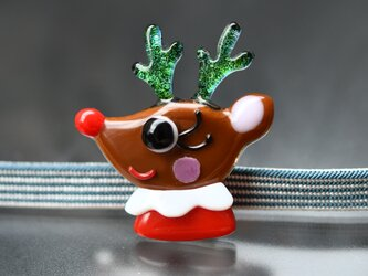 トナカイガールの帯留め クリスマスの画像