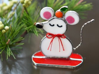 子年 ネズミさんの置物 ステンドグラスの画像
