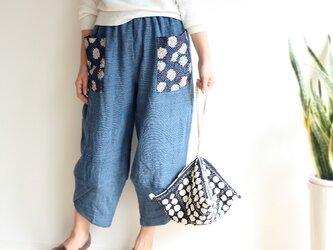 ブロックプリントポケットの手織り綿パンツ【インディゴブルー】の画像