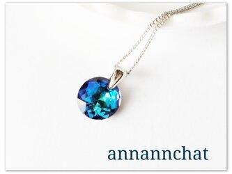 【稀少スワロフスキー バミューダブルー classical cut 10mm ネックレス】碧 ブルー の画像