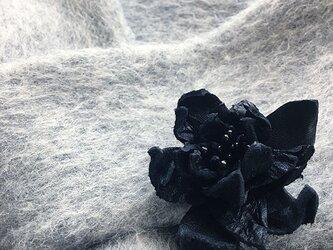 おしゃれ 革 コサージュ付き グレー モヘア マフラー / スカーフ♪の画像