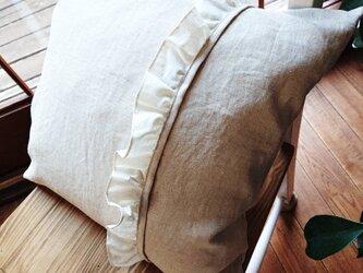 リネンのフリルクッションカバー 45cm×45cmの画像