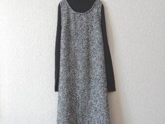 コットンツイードのジャンパースカート 黒の画像