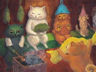 カマノレイコ オリジナル猫ポストカード「サウナ」2枚セットの画像