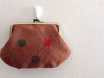 柿渋染めのがま口ポーチ - 8 水玉模様の画像