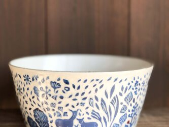Kakiotoshi large bowl — 馬と鹿の画像
