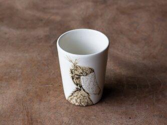 粉引フリーカップ(ハシビロコウ横)の画像