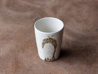 粉引フリーカップ(ハシビロコウ正面)の画像